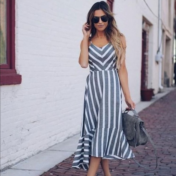 cozy casual Dresses & Skirts - Gray Striped Dress